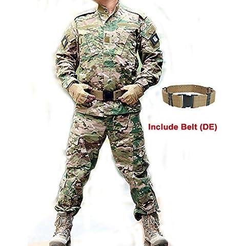 Táctica hombres BDU combate Uniforme Militar del Ejército de camiseta & pantalones MultiCam MC para trajes chaqueta para Airsoft, Paintball Caza Juego de Guerra, color camuflaje, tamaño L