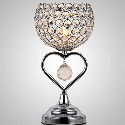 Kristall Tischlampe Chrom-Finish Metall Base dekorative Zimmer Licht mit K9 Kristall herzförmige Schreibtischlampe für Hochzeit Dekoration Esstisch