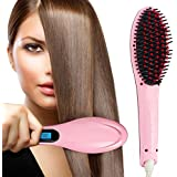 Gadgetronics Fast Professional Hair Straightener For Womens Electric Comb Brush Nano 3 In 1 Straightening LCD...