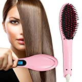 #10: Qualimate Professional Ceramic Hair Straightener Brush Fast Detangling Electric Comb, Digital Display, Massage Straightening Anti Static Anti Scald