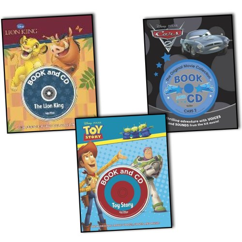 Disney Pixar Cars The Lion King Toy Story 3 Books & CDs Collection Set with O...