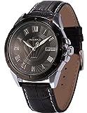 Agent X Herren Armbanduhr Quarzuhr Geschäft Schwarze Armband aus Leder mit Datumanzeige AGX041