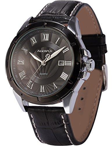 Agent X Herren Armbanduhr Quarzuhr Schwarze Armband aus Leder mit Datumanzeige AGX041