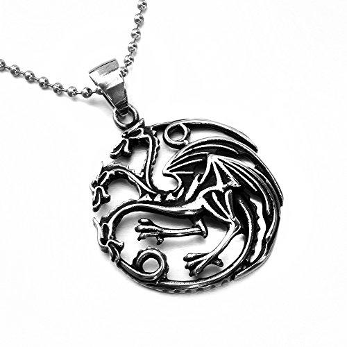 """MENDINO 3 gioielli da uomo """"Drago a Targaryen Sigil argento con ciondolo a forma di Game of Thrones"""