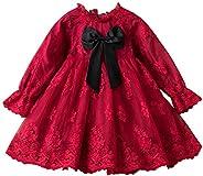 TTYAOVO Niña Flor Vestido Cordón Manga Larga Princesa Partido Ropa Talla 100 (2-3 años) Rojo05