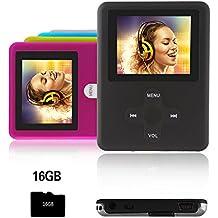 Btopllc Lettore MP3,lettore MP4 16GB,lettore musicale MP3 portatile,lettore di musica digitale MP3/MP4 Player classico ricaricabile / lettore audio / lettore multimediale - nero