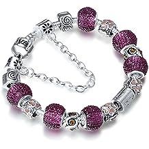A TE® Charm Pulsera Violeta Cristal Mujer con Letras Familia Cadena de Seguridad Regalo #JW-B22