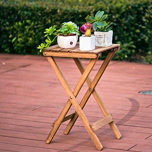 Tables de pique-nique La table basse de table pliante paresseuse de bois solide peut être employée en tant que supports de fleur d'intérieur et extérieurs (Color : Brown, Size : 35.5 * 35.5 * 60cm)