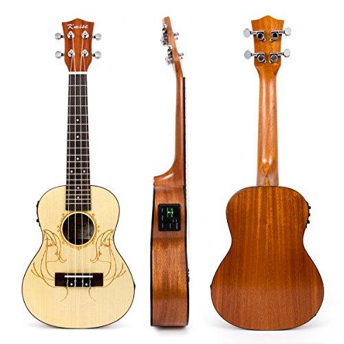Kmise Elektroakustische Ukulele Hawaii-Gitarre Konzert Ukulele mit EQ, Solide Fichte Sapele 58,4 cm Concert (UK-24A)