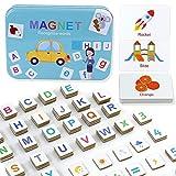 142 Pezzi Lettere Magnetiche Numeri Lettere in Legno Magneti per Frigorifero Giocattoli Educativi Giochi da Tavola
