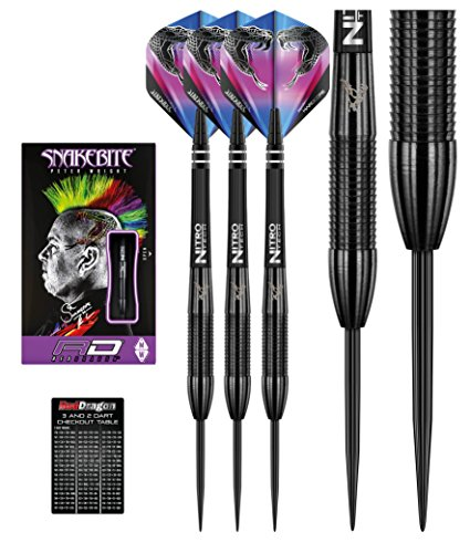 *RED DRAGON Peter Wright Snakebite 3 Black: 22g – 90% Tungsten Steel Darts mit Flights, Schäfte & RED DRAGON Checkout Card*
