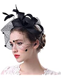 STRIR Sombrero Tocado Pelo Elegante Pluma Clip Hat Boda Coctel Malla Neto Velo Diadema para Mujer