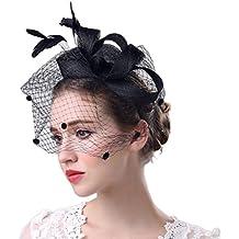 STRIR Sombrero Tocado Pelo Elegante Pluma Clip Hat Boda Coctel Malla Neto  Velo Diadema para Mujer f07a9e0cc585