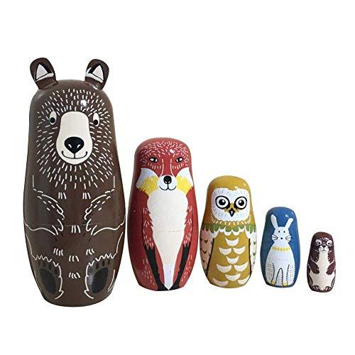 Authentische Pigment-pigment (NICEWL 5Pcs Russischen Nesting Dolls-Cute Animal Design, Authentische Russische Stapelpuppen, Hölzerne Matroschka Handgemachte Kinder Spielzeug, Neujahr Geburtstagsgeschenk)