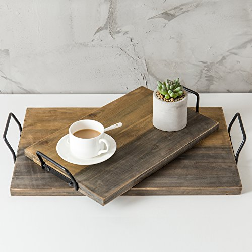 MyGift Alter Holz plank-style Servier-Tabletts mit Metall Griffe, Set 2