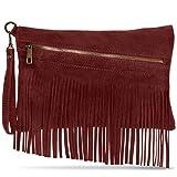 CASPAR Damen Fransen Tasche/Wildleder Tasche/Umhängetasche mit Fransen/Ledertasche / MADE IN ITALY - viele Farben - TL703, Farbe:dunkelrot