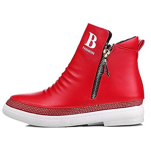 AllhqFashion Damen Weiches Material Rund Zehe Gemischte Farbe Niedriger Absatz Stiefel Rot