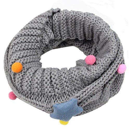Fuibo Baby Schal, Neue Herbst Winter Jungen Mädchen kinder Niedlichen Schal Baumwolle O Ring Neck Schals (Grau)