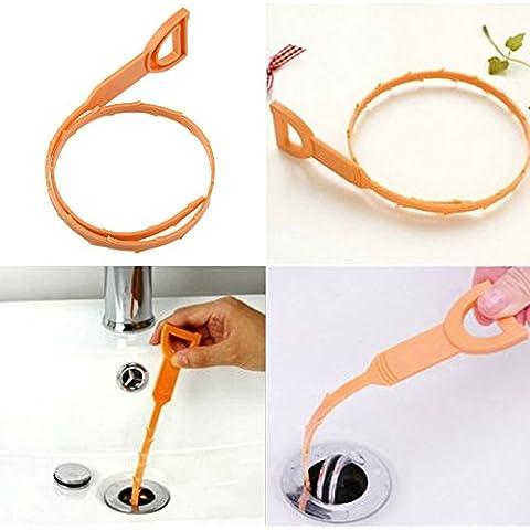 Vultera (TM) 2Pc serpente a forma di Sink Cleaner Bagno Toilette Cucina di scarico intasato Rimuove Capelli spazzola di pulizia per la casa e oggetti per