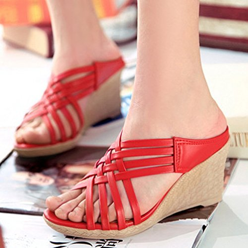 YOUJIA Femmes Élégant Chaussures Compensées Peep Toe Pantoufles Chaussures de Gladiateur Rouge