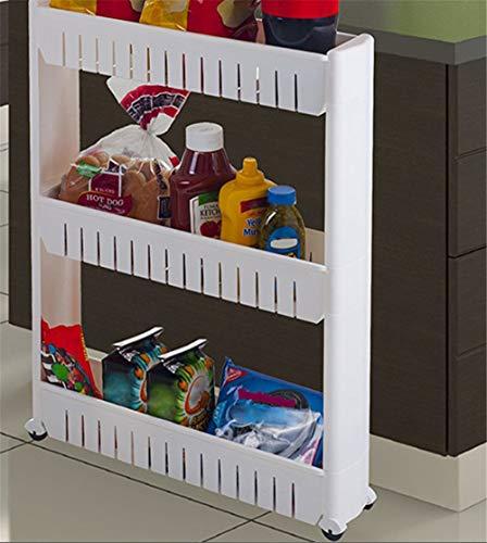 TANGTI Mobiles Regal-Organisator Mit 3 Schicht-Regal-Kühlschrank Schmales Raum-Retter-Dünnes Pantry-Gestell Für Küchen-Badezimmer