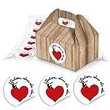 10 kleine Mini-Geschenkkarton Faltschachtel braun natur 9 x 12 x 6 cm ohne Griff + 24 Schön dass Du da bist Aufkleber in schwarz weiß mit rotem Herz hübsche Mitgebsel für Selbstgemachtes