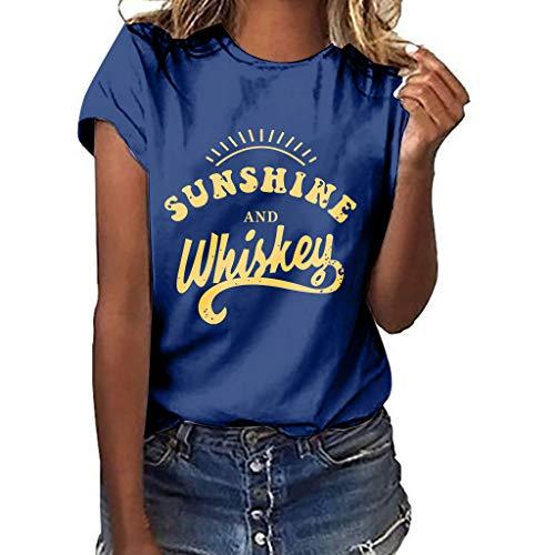 IZZB Damen Bluse Tanktops Weste Damen Top Oberteil Sommer Hemd Plus Size Print T Shirt (Marine, M)