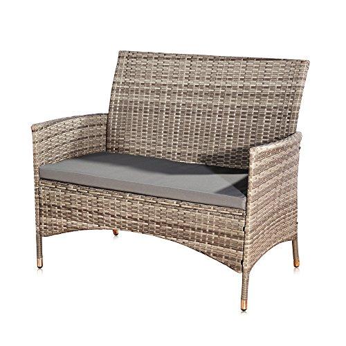 Unbekannt Melko® PolyRattan Gartenbank Gartenmöbel Lounge Sitzgarnitur, Grau -