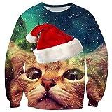 Loveternal Herren Weihnachten Langarm Jumper Cat Sweatshirt 3D Xmas Tops Printed Lustige Crewneck Pullover XL