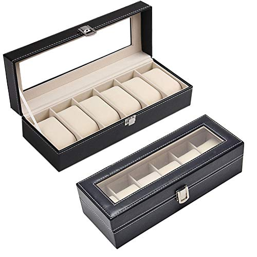 Kentop Uhrenkoffer Uhrenbox für 6 Uhren Fächer Uhrenschatulle mit Glasdeckel PU-Leder Uhrenvitrine