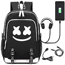 T-MIX DJ Marshmello Mochila, Schoolbag Mochila para portátil Bolsa Fresca para Adolescentes Mochila