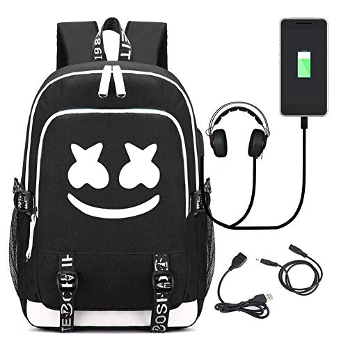 T-MIX Marshmello Zaino, Backpack Travel Bag Bookbag Laptop Backpack USB Multifunzionale Casual Bussiness Borsa