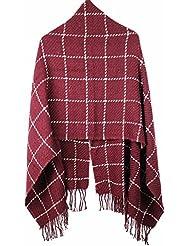 MZMZ ULTRA apretado el cuello BMBAI cálido-Multi-color bufandas tejer canteado enrejados Fancy Bufanda caliente mantón de enfermería toalla larga bufanda tejida, hembra castaña de los caballos