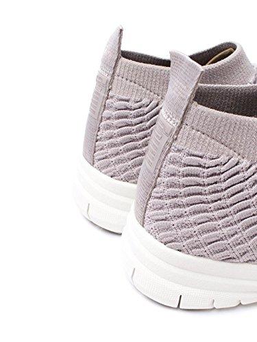 FitFlop Womens Uberknit Slip On High Top Sneaker in Waffle - Black Stone