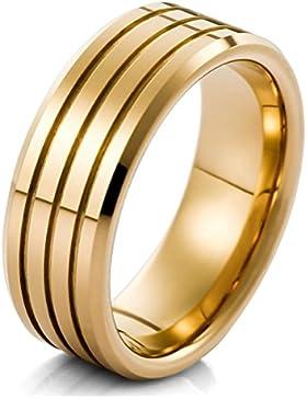 MunkiMix Wolframcarbid Wolfram Band Ring Gold Golden Bequeme Passform Atemberaubend Hochzeit Wedding Eheringe...