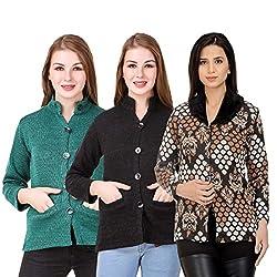 Kritika World Womens Wool Cardigan Dress (COAT_NHRU_GREEN_BLACK_COAT2_ORNG_Green Black Orange_Medium)