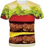 Kinchenet Unisex Lustige 3D Druck Hamburger Hip Hop Mann Tee Streetwear T-Shirt Hipster Kleidung