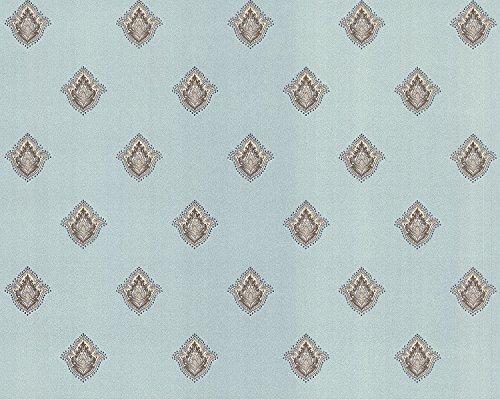 Barock Tapete EDEM 9043-29 Vliestapete geprägt mit Ornamenten glänzend türkis creme-weiß silber...