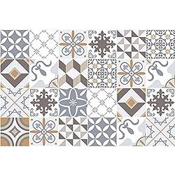 24 Stickers adhésifs carrelages | Sticker Autocollant Carrelage - Mosaïque carrelage mural salle de bain et cuisine | Carrelage adhésif - traditionnels beige - 10 x 10 cm - 24 pièces