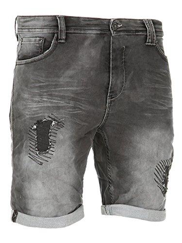 Sublevel Herren Jogg Jeans Shorts kurze Hose (Grey - H-61262B/KG37, W32)