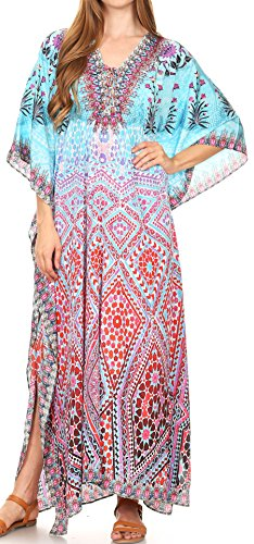 Sakkas 17204 - LongKaftan Georgettina Ligthweight Impreso Long Caftan Dress / Cover Up - 17204-TurquoiseMulti -OS
