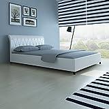 Anself Polsterbett Doppelbett Bett Ehebett aus Kunstleder ohne Matratze 140 x 200 cm Weiß