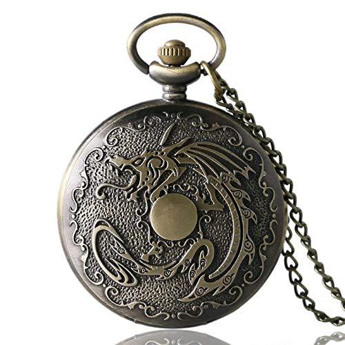 DYH&PW Montres Bronze Cadeau d'anniversaire Steampunk Retro Quartz Pocket Watch Hommes Femmes