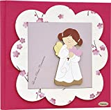 Fabula Prima Comunione - Album Portafoto formato 20x24 Angela Cuore Fiori - Copertina Rigida 183 Fucsia con applicazioni in Legno - Cod. 160057