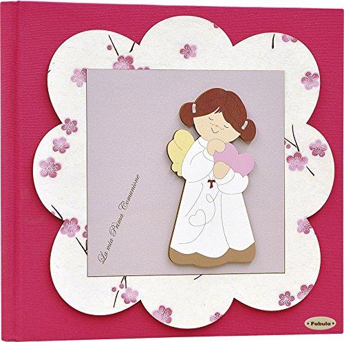 Fabula prima comunione - album porta foto formato 20x17 angela cuore fiori - copertina rigida 183 fucsia con applicazioni in legno - cod. 160059