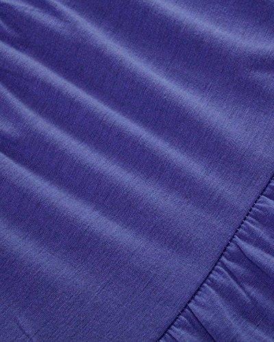 ZANZEA Femme Casual Dentelle Manches 2/3 Lâche Tunique Mini Robe Violet