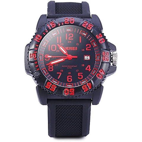 downj Mens militare Sport Orologio al Quarzo, Cinturino in silicone orologio da uomo Outdoor (Rosso)