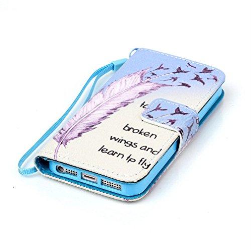 KATUMO® iPhone 5C Case, PU Leder Flip Cover Wallet Case Schutzhülle für Apple iPhone 5C Hülle Leder Tasche Schale Handyhülle mit Kartenfach Function und Standfunktion,Traum Feder
