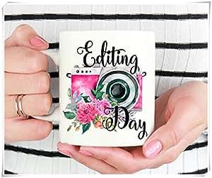Editing Day Mug, Photographer Mug, Photographer Gift, Gift for Photographer, Photography Gifts, Wedding Photographer Gift, Camera Mug, 11oz Ceramic Coffee Novelty Mug/Tea Cup, High Gloss