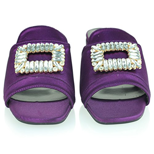 Frau Damen Brosche Detail Diamant Schlüpfen Blockabsatz Abend Lässig Party Sandalen Schuhe Größe Violett